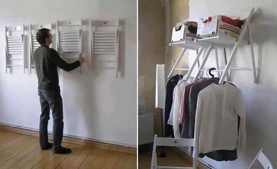 His Is A Great Upcycled Closet Solution To Create Temporary Or Even Permanent E Take 2 4 Chairs And Hang Onto The Wall With Nails