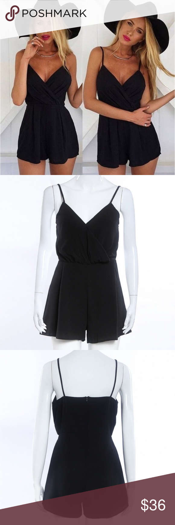 Black tank romper Black tank mini romper. Zipper on back. Larger around the waist.  Perfect for a summer dinner date or night out Pants Jumpsuits & Rompers #summerdinneroutfits