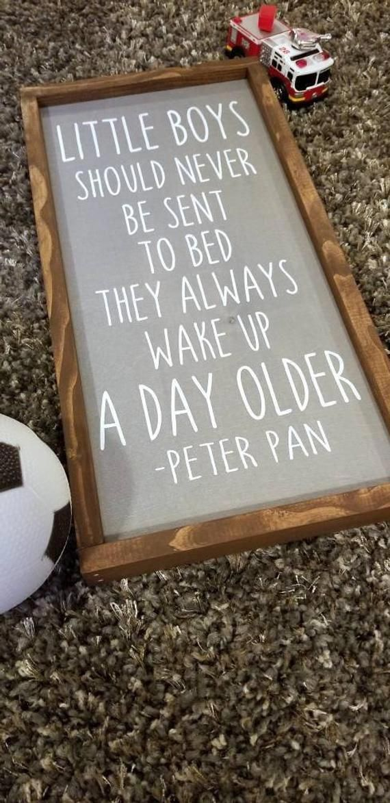 Nursery Sign, Boy Room Decor, Little Boys Should Never Be Sent To Bed, Peter Pan, Baby Shower, Nursery Decor
