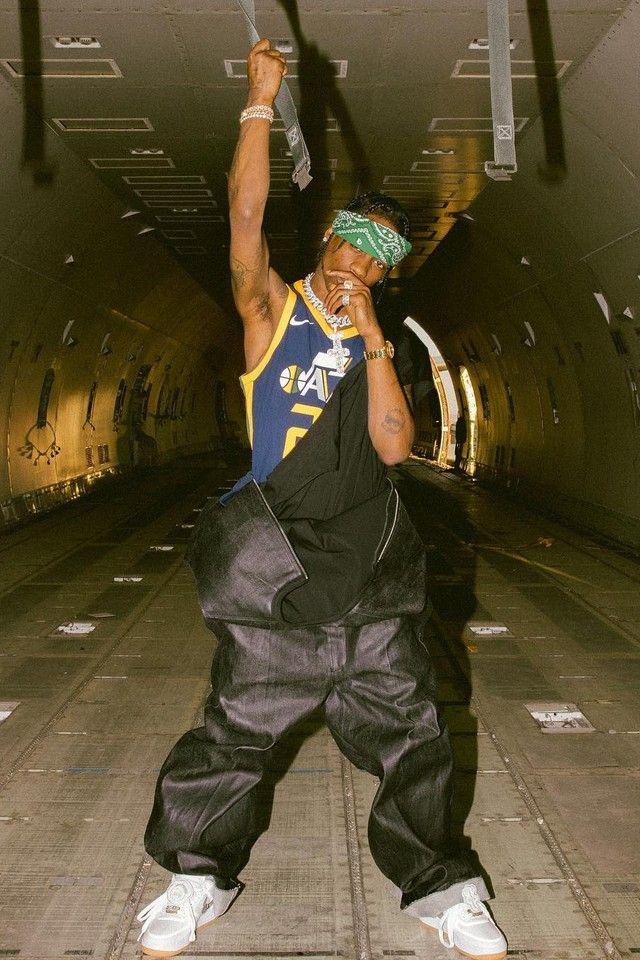 d71a95d71b54b Travis Scott wearing Nike RUDY GOBERT ICON EDITION SWINGMAN JERSEY ...