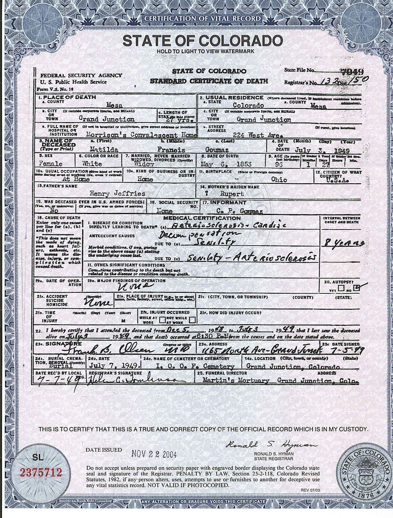 Certification of vital record state of california department of certification of vital record state of california department of health services certificate of death funerary practices pinterest death 1betcityfo Choice Image