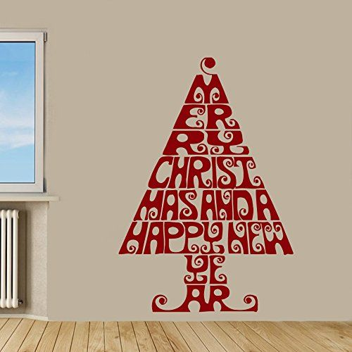Wall Decor Vinyl Decal Sticker Merry Christmas Tree Made of Words Kg378 -- More info could be found at the image url.
