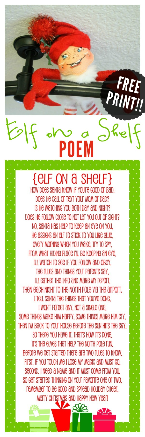photograph regarding Elf on the Shelf Printable Story identify Elf upon the Shelf Tale - Totally free Printable Poem Xmas