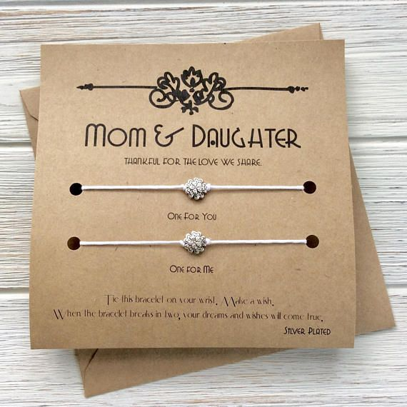 Mothers Day Gift Ideas Card From Daughter Son Wish Bracelet Birthday