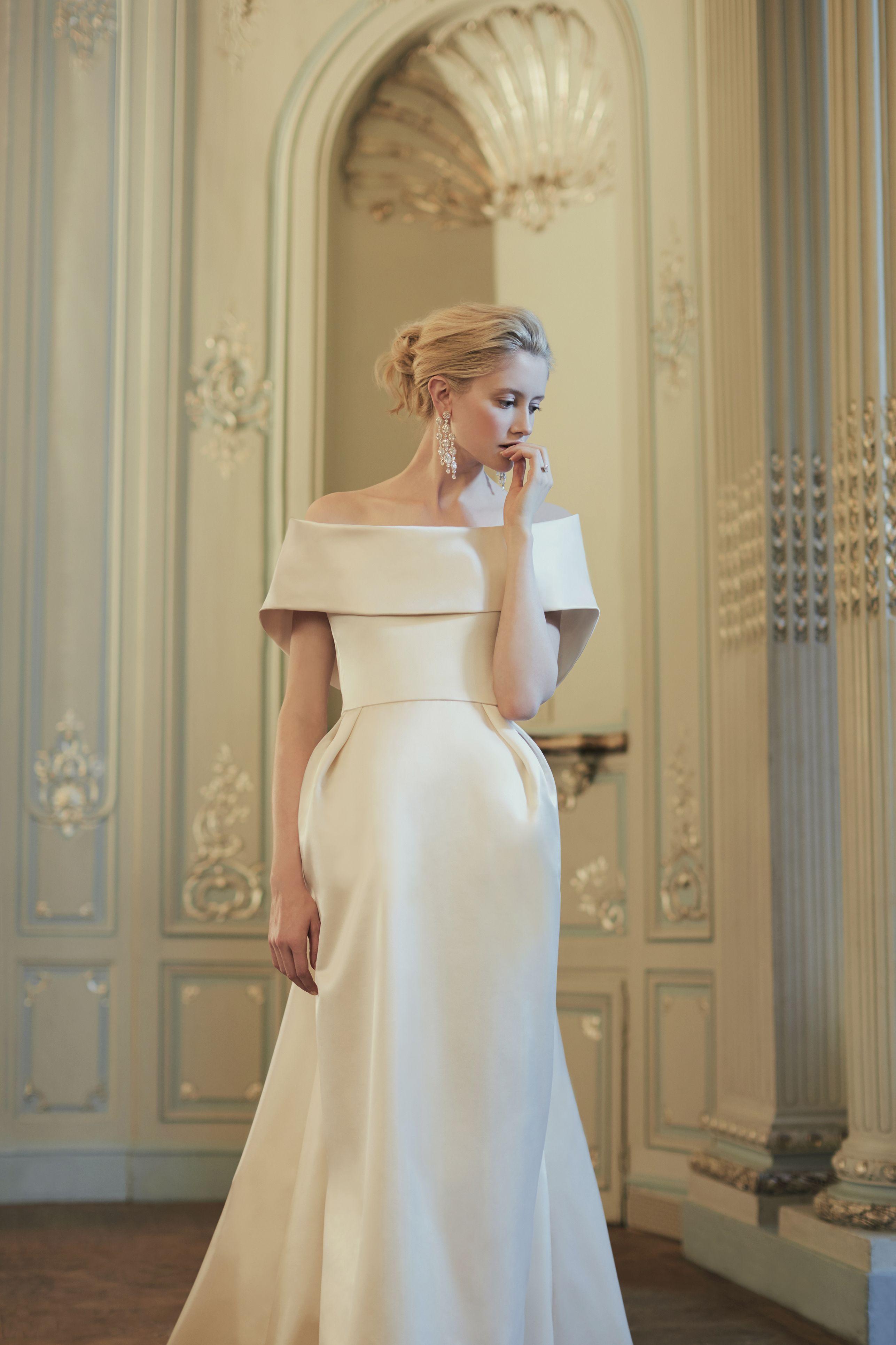 Couture Wedding Dress Sabrina Satin Collar Wedding Dresses Satin Wedding Dress Couture Wedding Dresses London