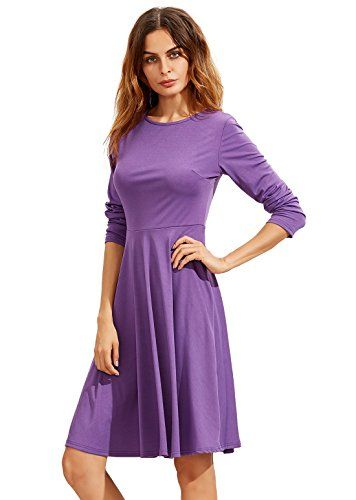 56af5d4036a SheIn Women s Long Sleeve Casual Slim Fit Flare Skater Dress  ad ...