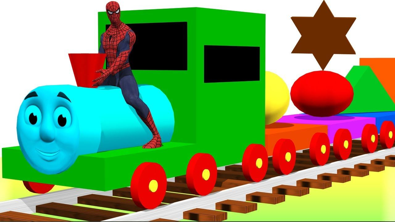 Learn Shapes & Colors Song for Children - Spiderman Ride Thomas ...