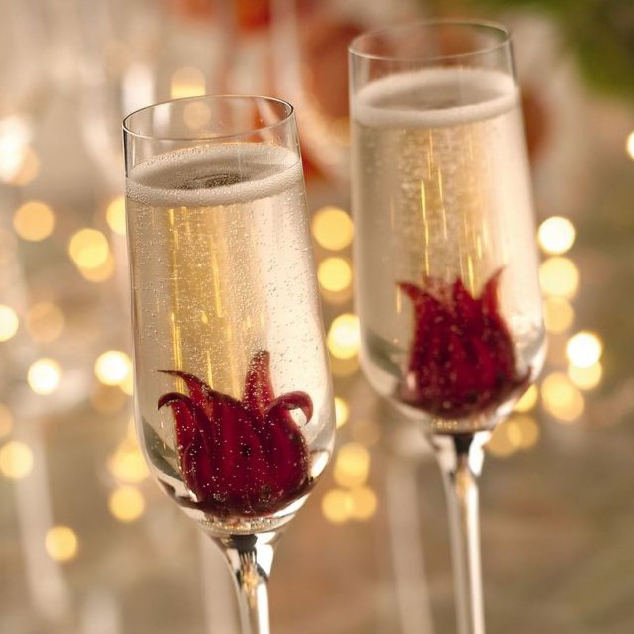 Edible Hibiscus Flower In Champagne Year Of Clean Water