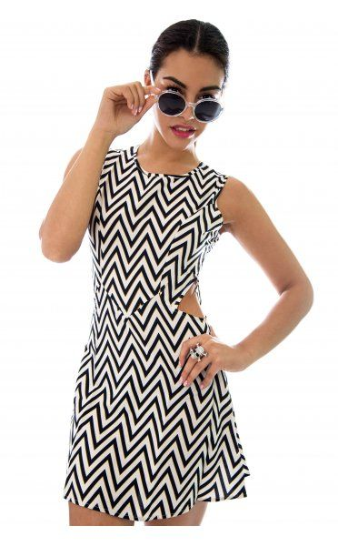 Black and White Zig Zag Dress with Side Cutouts