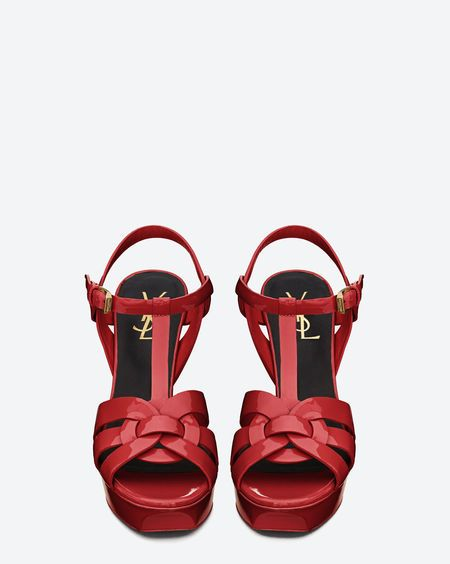 Tribute Sandal in Red Patent Leather - Sandals – Shoes – Previous  Collection – Yves Saint Laurent – www.ysl.com b4d4af4e6