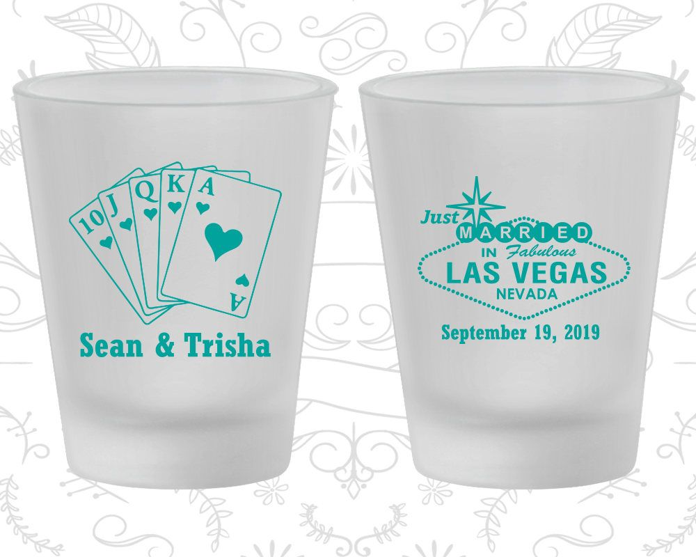 Frosted Wedding Shot Glasses, Las Vegas Wedding, Just Married ...