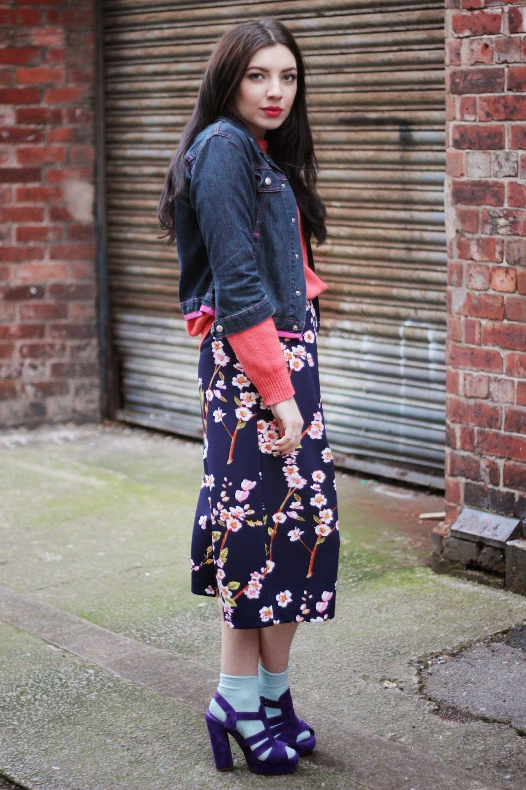 Vintage Primark Spring Culottes Socks Sandals Denim Jacket Outfit Street Style Blogger Fashion