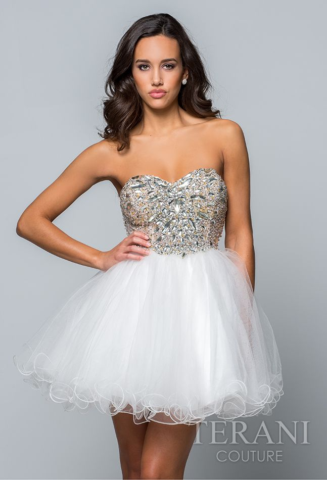 fc7a6e2482 Terani Prom 2015 Collection   Rubie   Jane. Tulle sweetheart party dress  featuring a crystal encrusted bodice