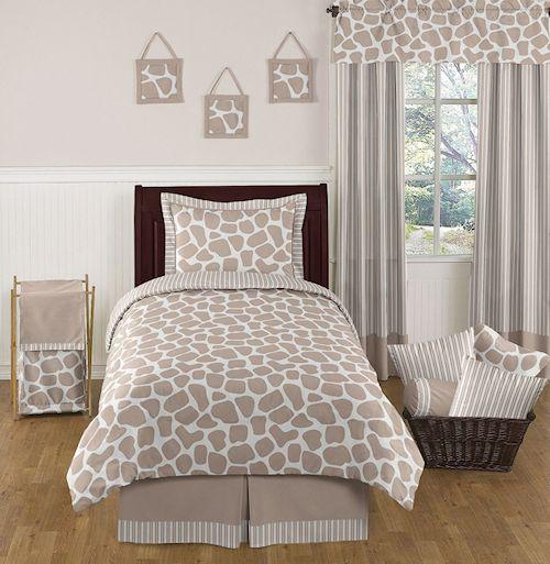giraffe print s bedding 4pc twin comforter set cream taupe brown white