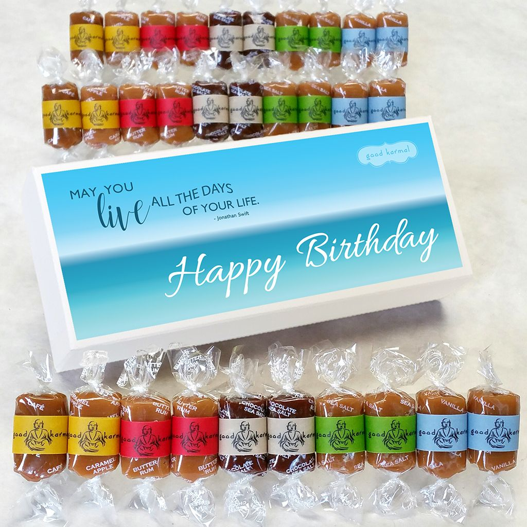 Birthday Cheer Delivered Right To Their Door Each Creamy Caramel Comes Hugged By A Wrapper Inscribed With Positive Quotation Three Sizes Are Available