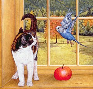 Cat Painting - Bird Watching by Ditz