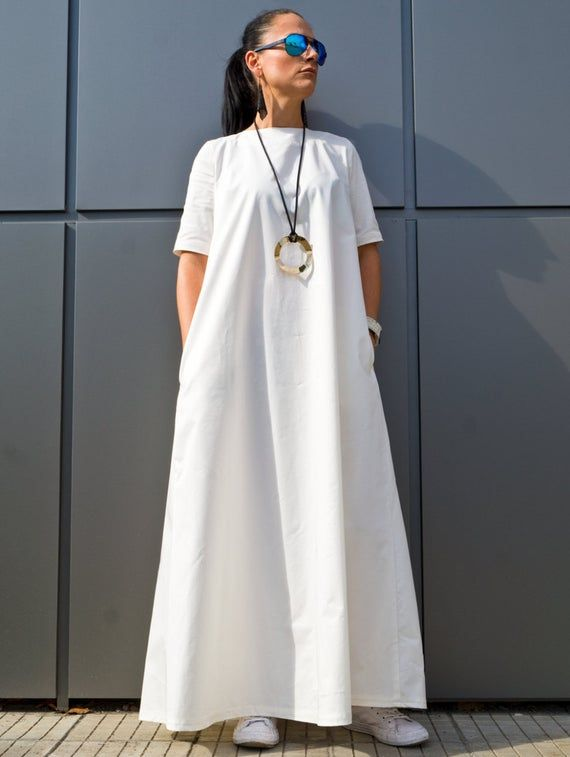 White Plus Size Maxi Dress/ Boho maxi dress/ Womens Clothing/ Kaftan Maxi dress/ Caftan Long dresses/ Cotton Boho Dress by YoLineXL