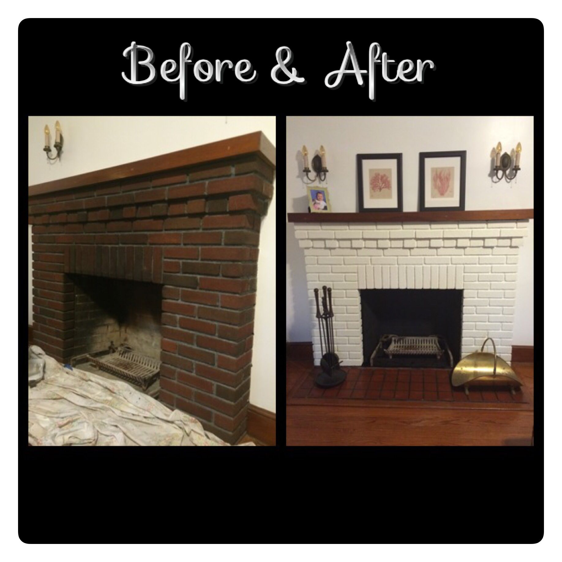 before and after picture of painted white brick fireplace home pinterest brick fireplace. Black Bedroom Furniture Sets. Home Design Ideas