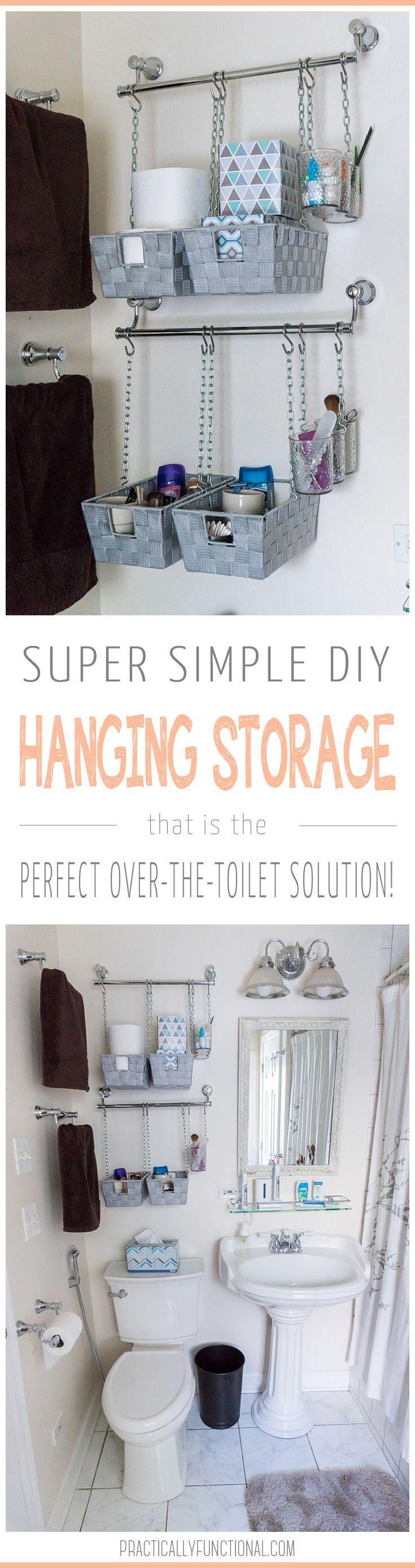 Diy Hanging Storage Bins For Over The Toilet Storage Bathroom