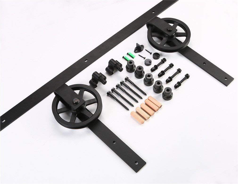 kit de roulette pour porte coulissante CCJH 5FT-153cm Quincaillerie Kit de Rail Grande Roue Roulettes pour Porte  Coulissante Hardware pour