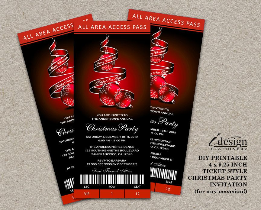 Elegant Christmas Templates: Holiday Party Ticket Invitations