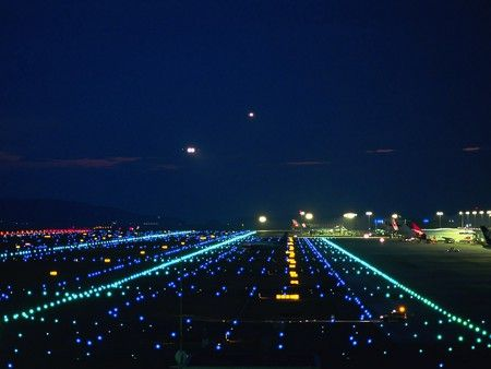 Aircraft Landing Lights - When seen from a position in line with the