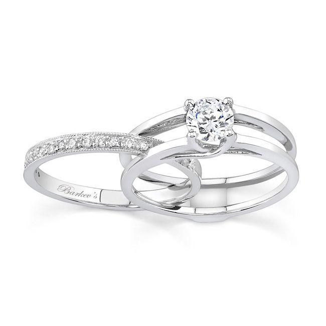 White Gold Moissanite Engagement Ring Set Moi 7145s Interlocking Wedding Rings Wedding Ring Sets White Gold Diamond Engagement Ring