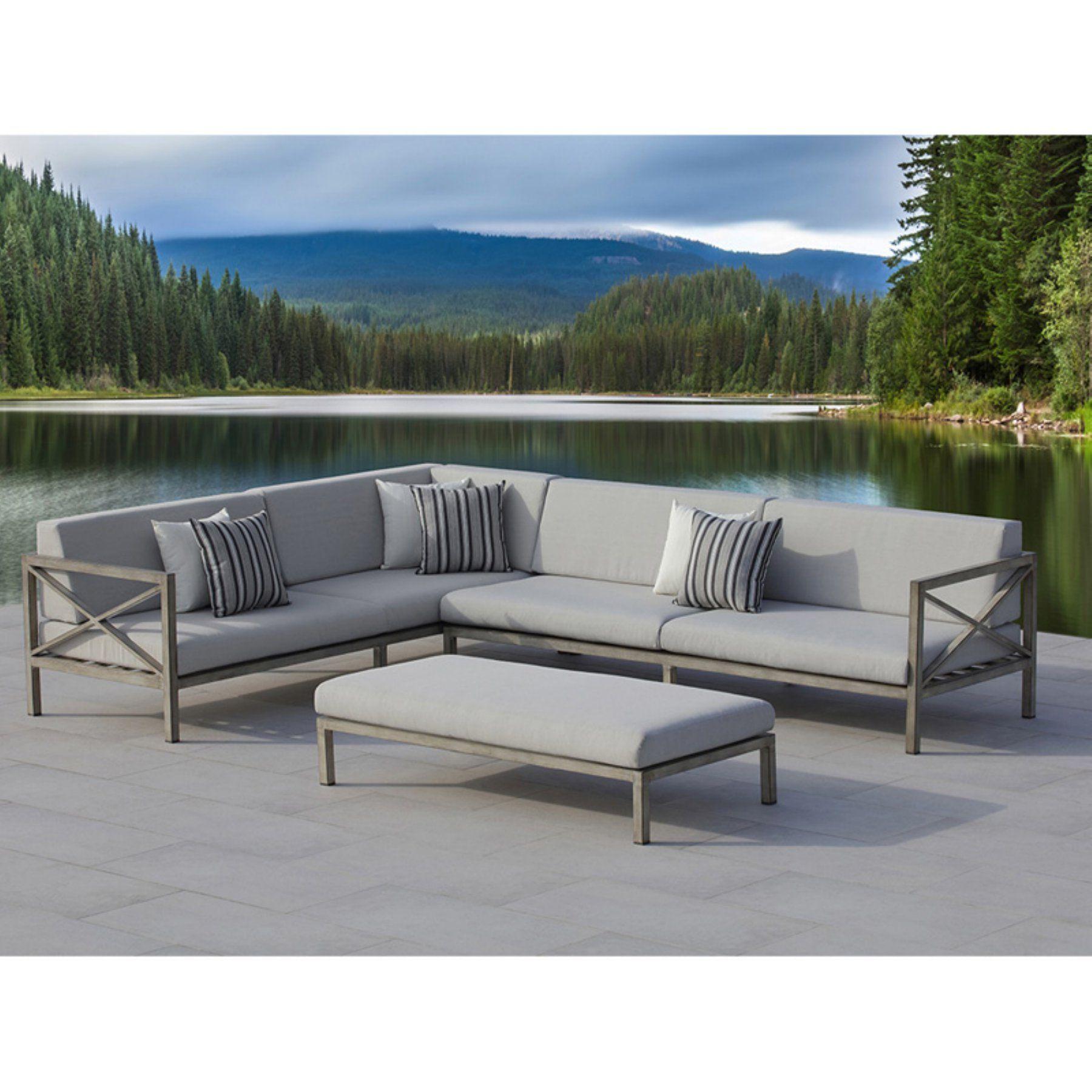 Ove Decors Pasadena Aluminum 3 Piece Gray Patio Outdoor Sectional Set    PAS3S