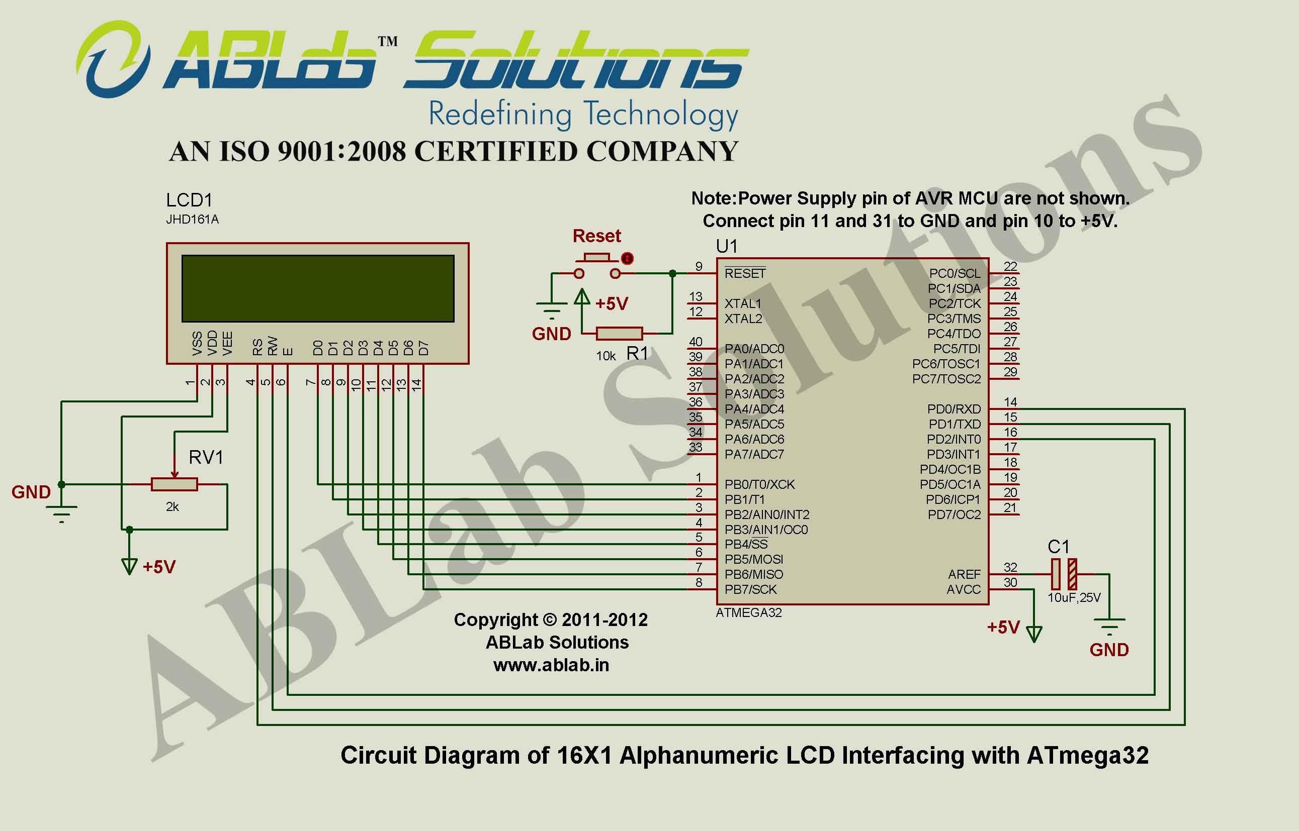 16x1 Alphanumeric Lcd Interfacing With Avr Atmega32 Microcontroller Circuit Diagram Ablab Solutions