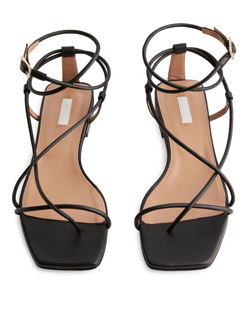 Side Image Of Arket Flat Leather Strap Sandal In Black Leather Strap Sandals Minimalist Shoes Sandals Heels