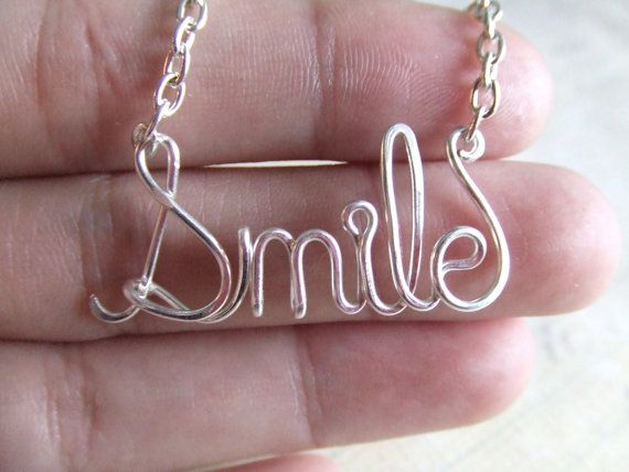 Smile Necklace Silver Word Necklace Personalized Name Necklace Wire ...