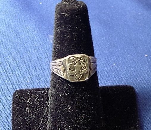 Vintage 1950's Sterling Silver Girl Scout Ring Adjustable