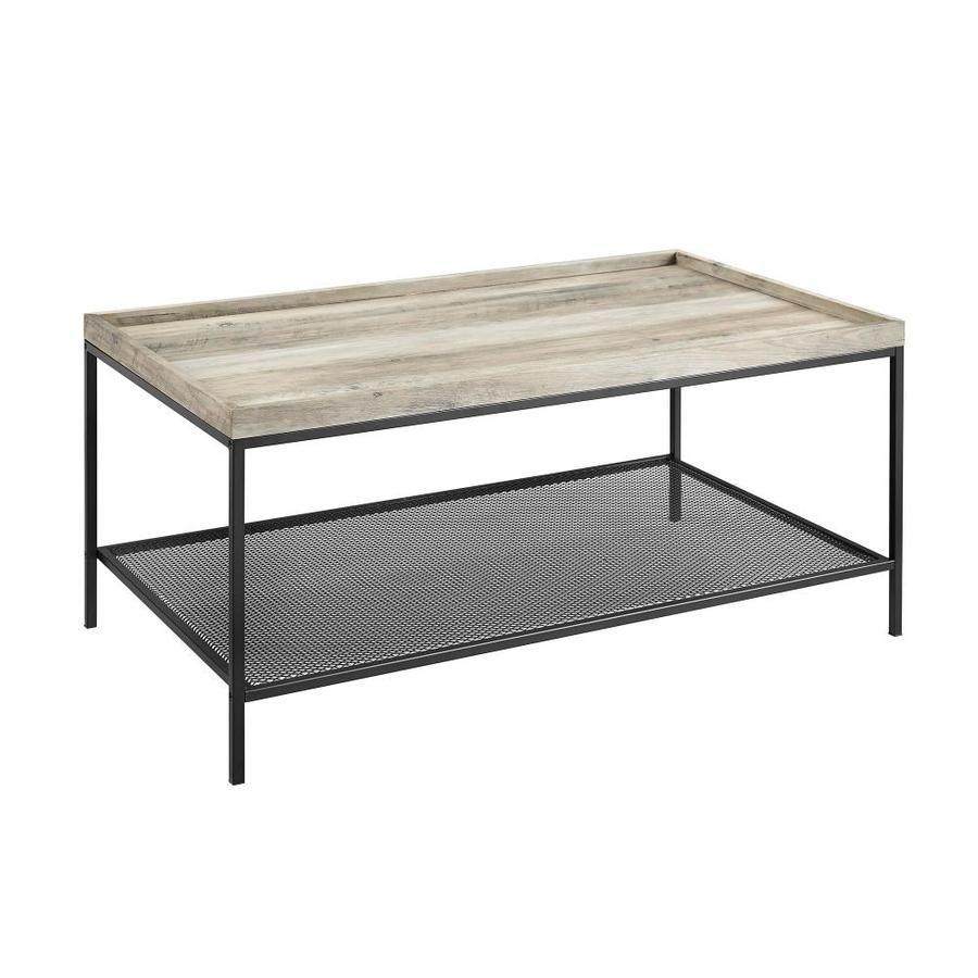 Walker Edison Grey Wash Coffee Table Lwf42emictgw In 2020 Rustic Oak Coffee Table Rustic Industrial Coffee Table Industrial Coffee Table