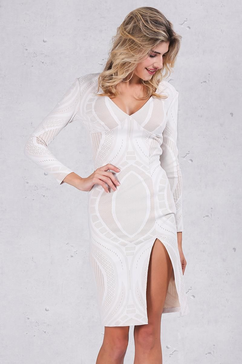 Sexy Pencil with White Lace Long Sleeve Dresses