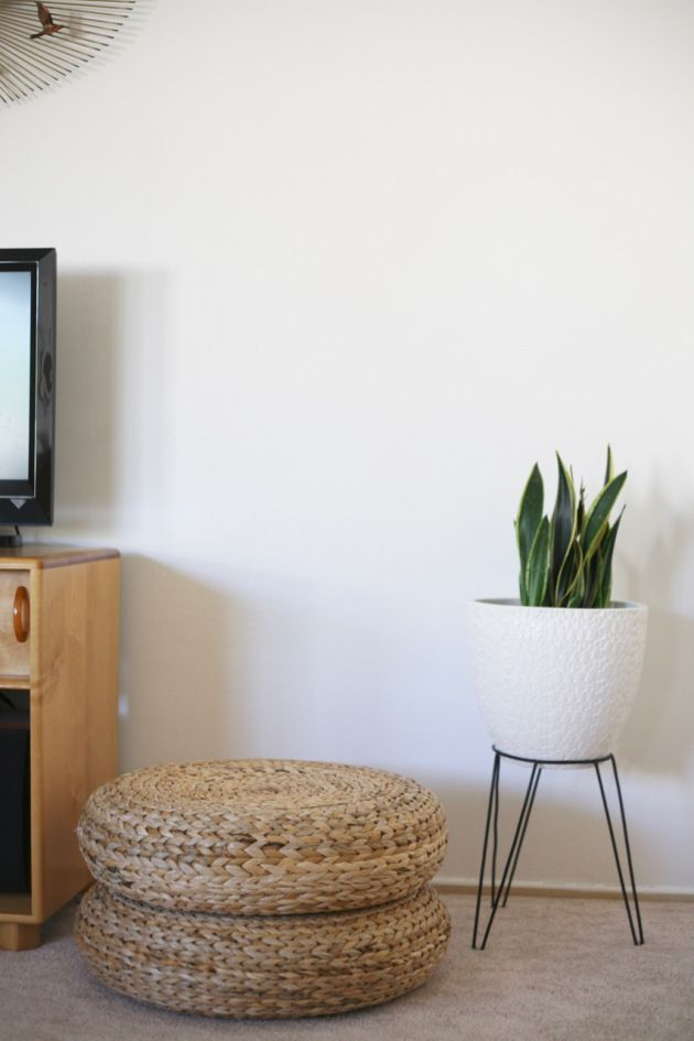 Mid Century Ikea Alseda Stool Pouf Woven Bullet Planter Living Room Stools Ikea Living Room Furniture Ikea Alseda