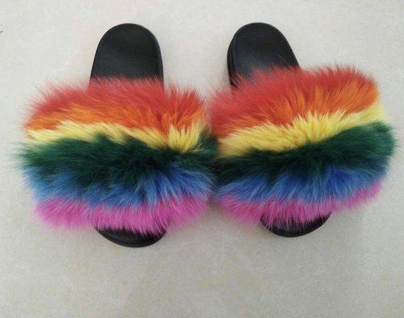 81f64f2ce13d Rainbow Fur Slides - Fur Slides - Fox Fur Slides - Fur Slippers - Fox Fur  Slippers - Handmade - Wome