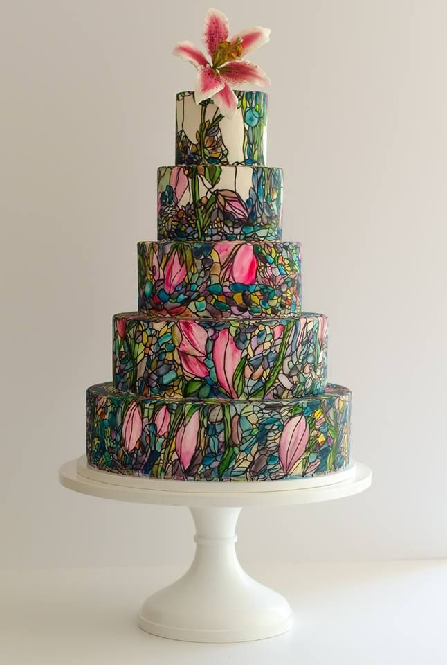 Stained Glass Inspired Handpainted Floral Wedding Cake Maggie - Austin Wedding Cake