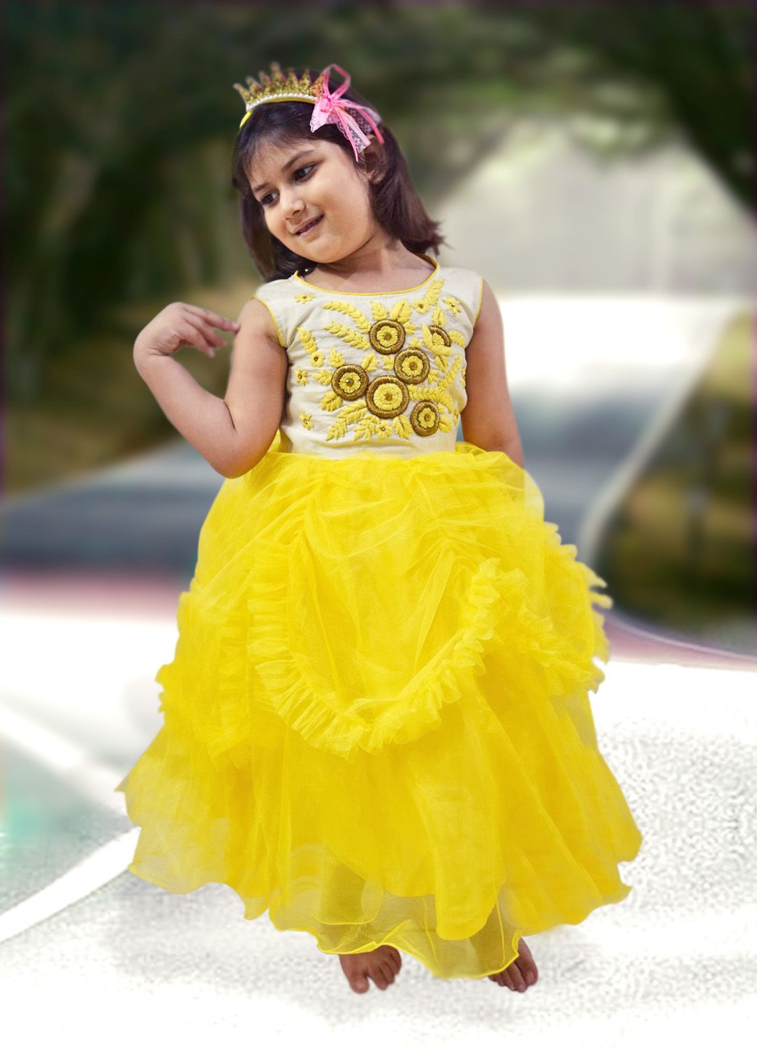 afddddd658 Buy online in India the beautiful party dress for your young baby girl.  This attire comes with sleeveless white bodice with floral embroidery.