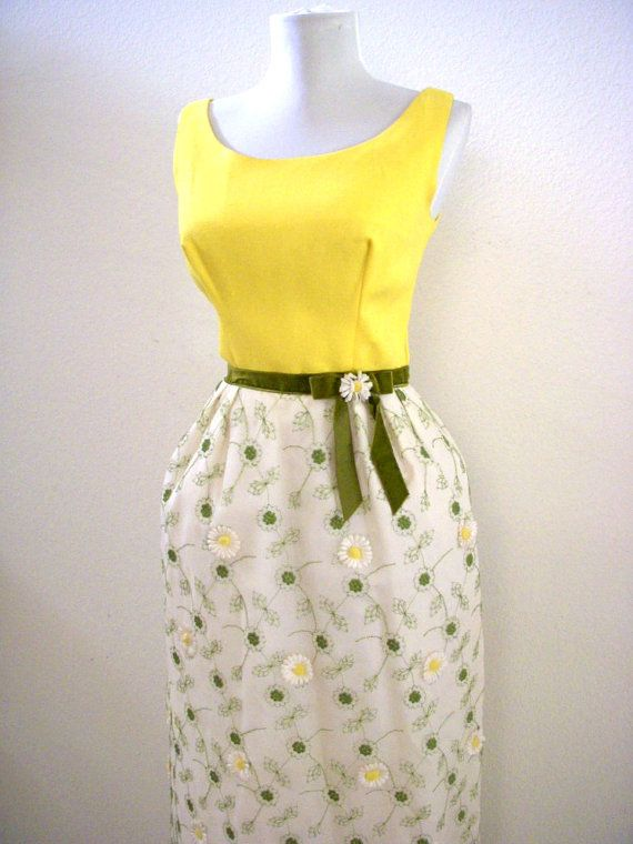 e02b05be9c Super cute vintage 60s dress with embroidery and actual daisies! It  features a solid yellow sleeveless bodice  white taffeta skirt with green  embroidery ...