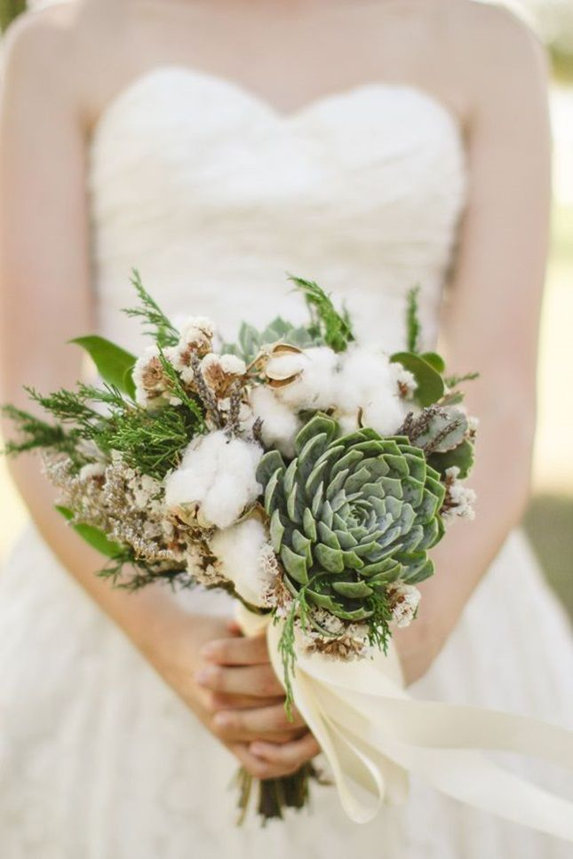 Cotton And Succulent Wedding Bouquet By Paisley Petals Flower Studio Love The Ideas Of Succulents For Texas Weddings