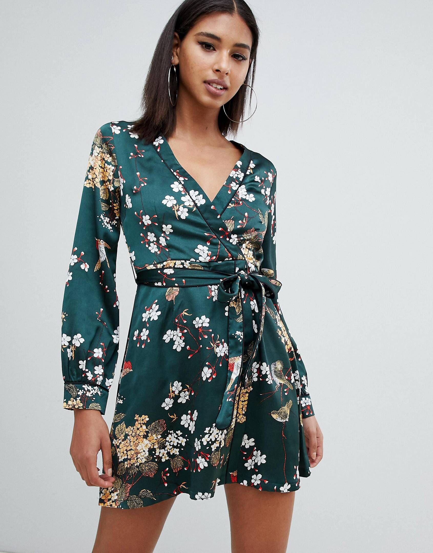 ba518d56b9fa Missguided satin wrap mini tea dress in green floral