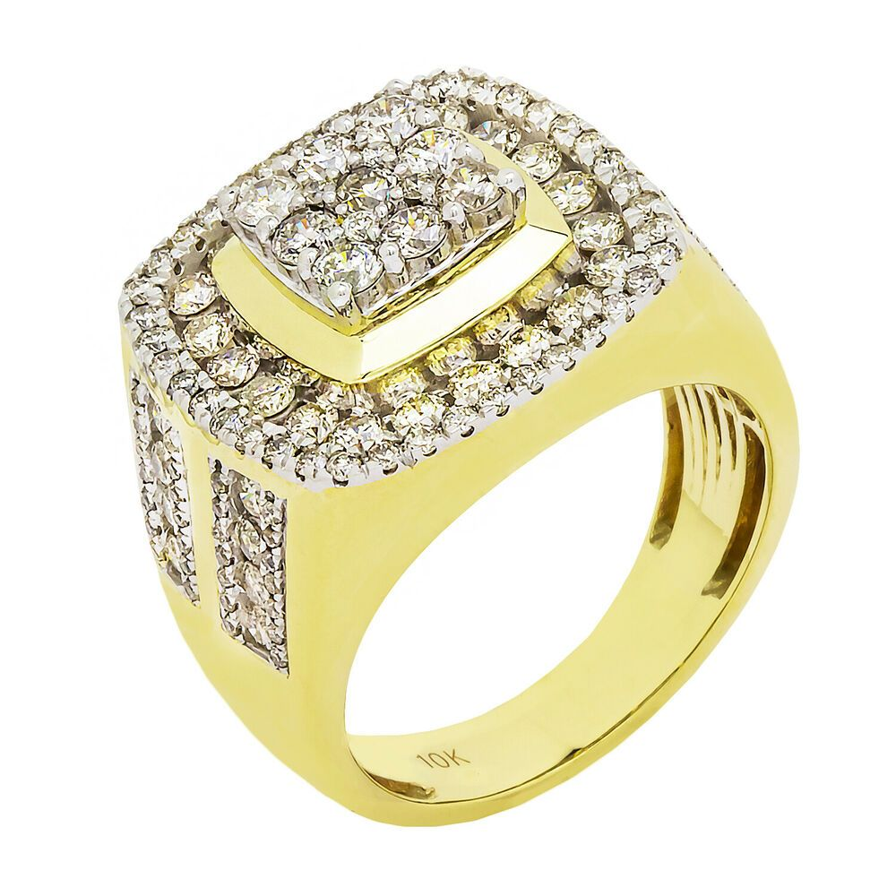 Details About 10k Yellow Gold Diamond Cluster Mens Ring 3 10ct Size 9 11 3 Grams Rings For Men Diamond Cluster Gold Diamond