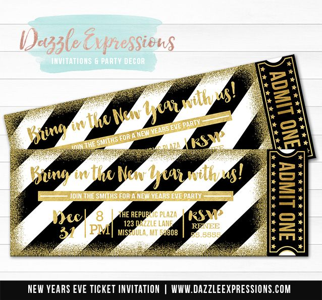 Printable Black and Gold Glitter New Years Eve Ticket Invitation