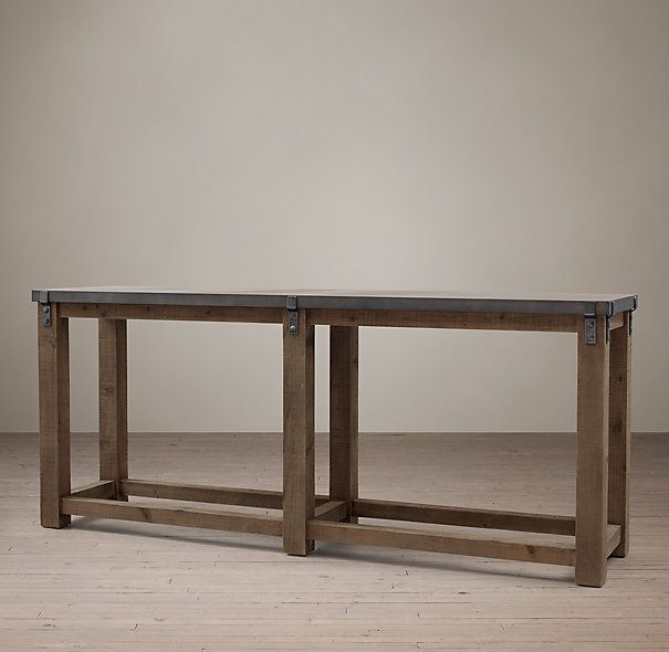 Console Table Restoration Hardware Reclaimed Wood And Zinc Strap Larger