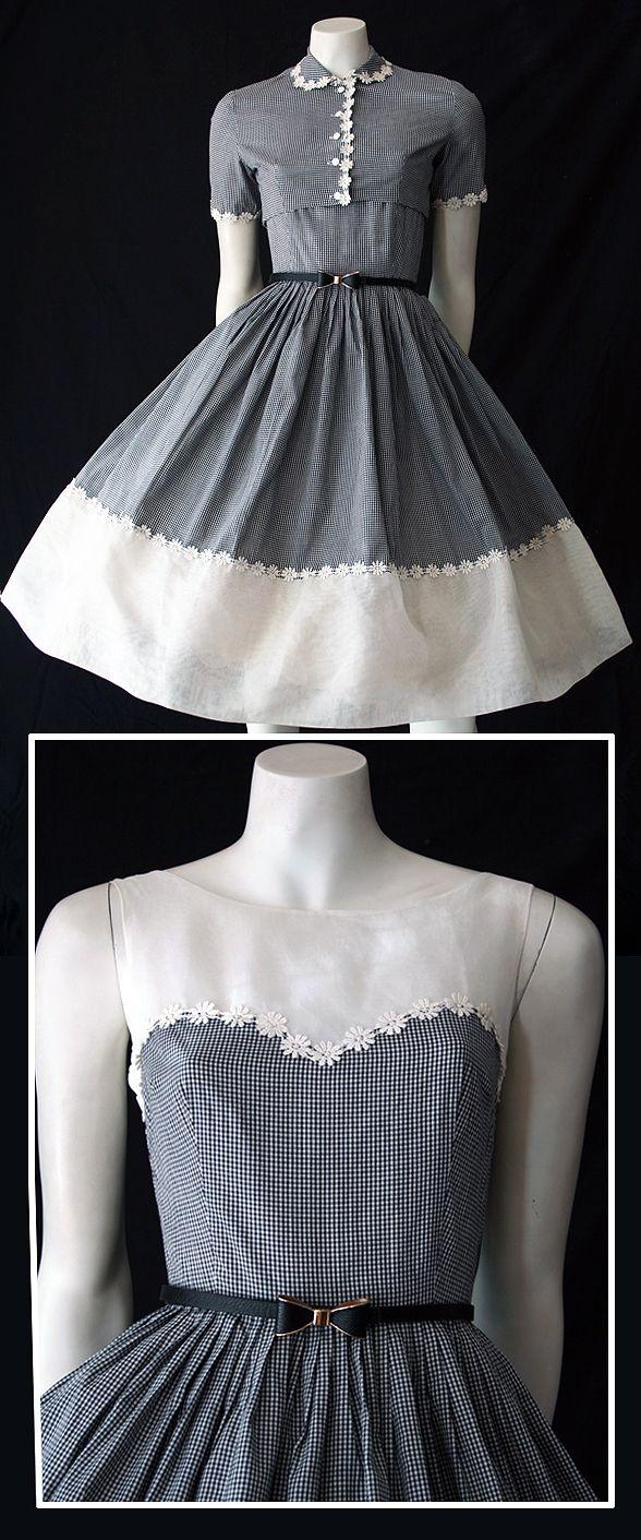 Vintage s check dress and bolero my style pinterest check