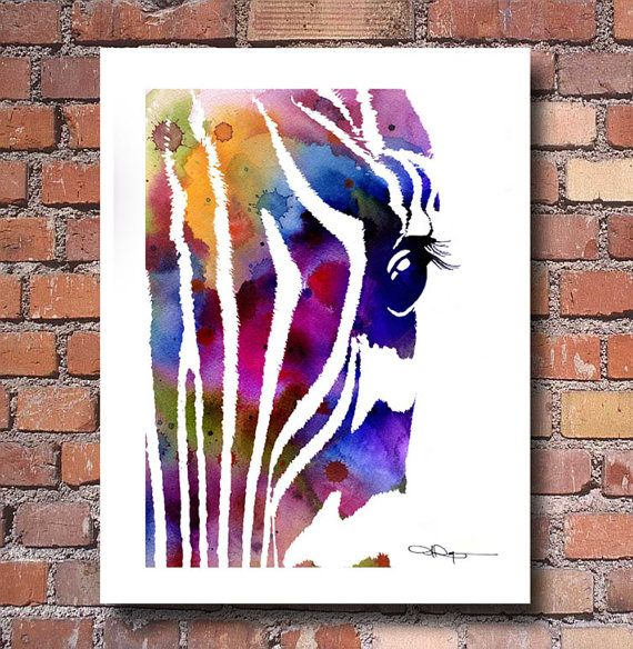 Zebra Art Print Abstract Watercolor Painting By