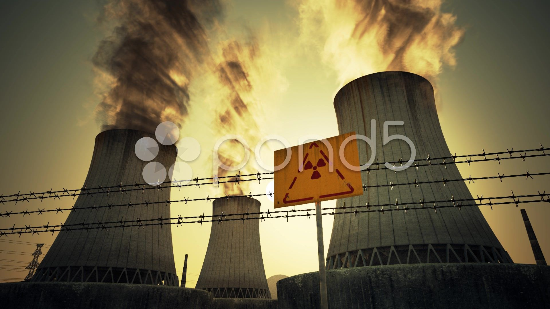 Nuclear Power Plant Cooling Towers Radioactive Sign Sunset Stock