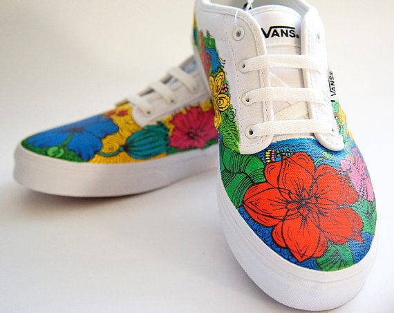 4b1d8f90f8 Painted Vans Atwood Flowers and Birds Vivid by atelierChloe