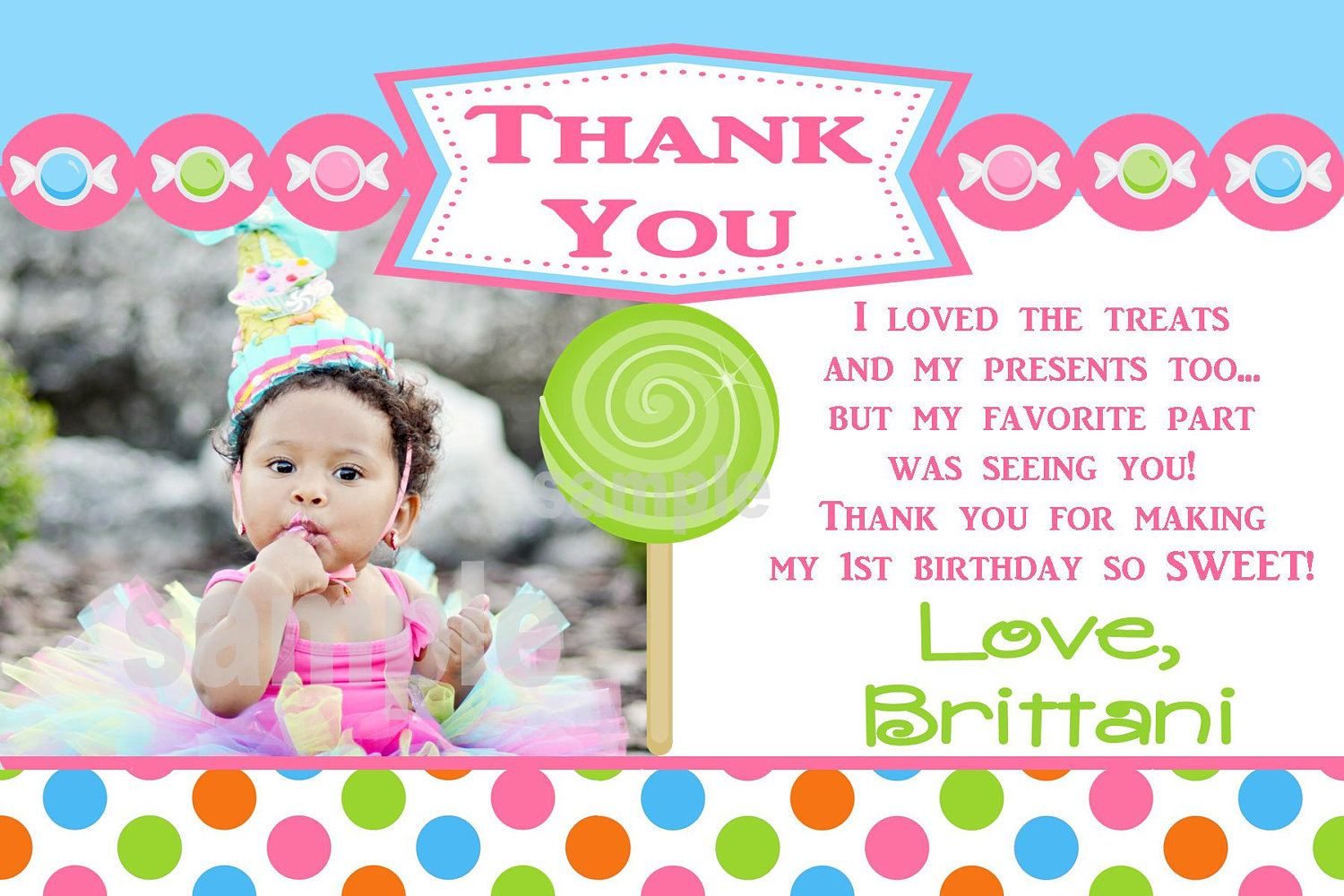 Thank You Card 1st Birthday Pictures Birthday Thank You Cards Candy Themed Party