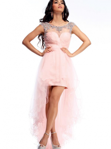 High Low Pink Formal Dress/ Plus Size Prom Dress Homecoming Dress ...